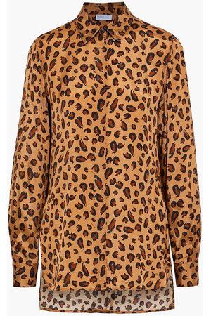 ROSETTA GETTY Women T-shirts - Woman Leopard-print Satin-twill Shirt Animal Print Size 10