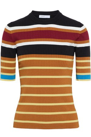 ROSETTA GETTY Women Tops - Woman Striped Ribbed-knit Top Camel Size L