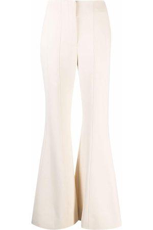 Proenza Schouler Women Wide Leg Trousers - Textured Suiting Flared Pants - Neutrals