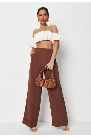 Missguided Women Trousers - Chocolate Tailored Masculine Trousers