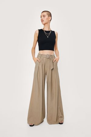NASTY GAL Womens Business As Usual Wide-Leg Belted Trousers