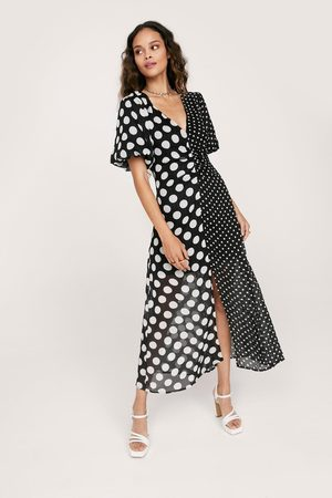NASTY GAL Women Midi Dresses - Womens Polkadot Half And Half Ruched Midi Dress