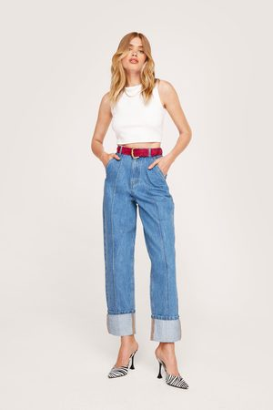 NASTY GAL Womens Seam Front Turn Up Jeans