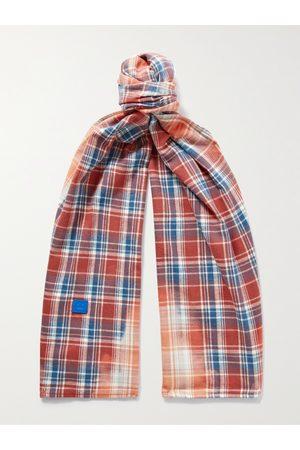 Acne Studios Men Scarves - Logo-Appliquéd Checked Cotton-Flannel Scarf