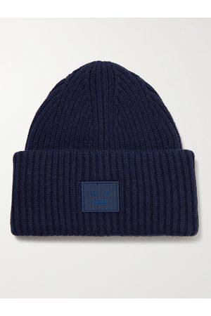 Acne Studios Men Beanies - Logo-Appliquéd Ribbed Wool Beanie