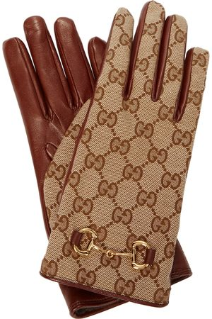 Gucci GG-canvas and leather gloves