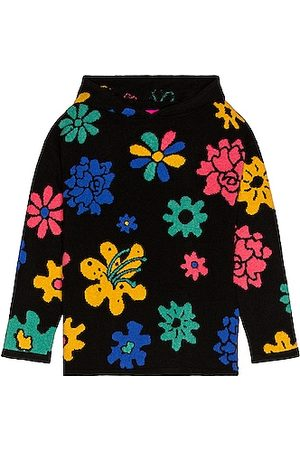 THE ELDER STATESMAN Heavyweight Cashmere Intarsia Sound Flowers Hoodie in with Turquoise True & Hibiscus