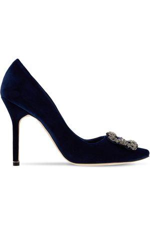 Manolo Blahnik Women Heels - 105mm Hangisi Embellished Velvet Pumps