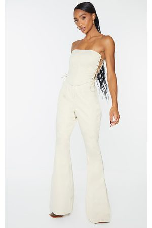 PRETTYLITTLETHING Stone Woven Skinny Flared Trousers