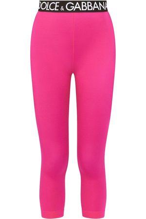 Dolce & Gabbana Women Trousers - Logo-waistband cropped leggings