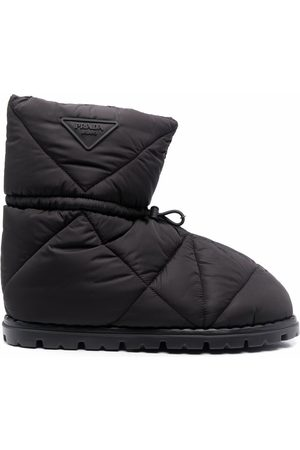 Prada Triangle-quilted logo-patch snow boots