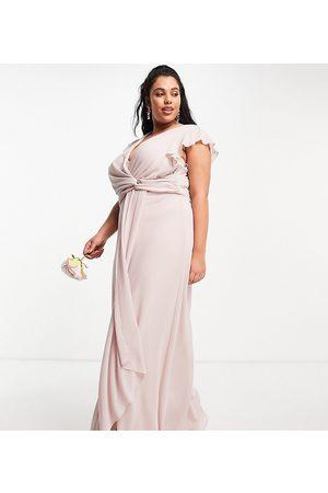 TFNC Bridesmaid flutter sleeve ruffle detail maxi dress in mink