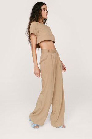 NASTY GAL Womens Linen Look Pleated Front Wide Leg Trousers