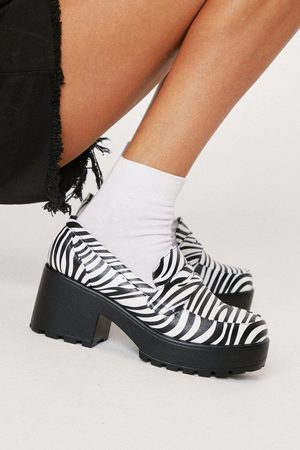 NASTY GAL Womens Faux Leather Zebra Print Chunky Loafers
