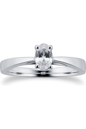 GOLDSMITHS Platinum 0.50ct Oval Cut Solitaire Engagement Ring - Ring Size I