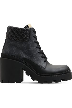 GUCCI Women Boots - 70mm Trip Leather & Canvas Boots