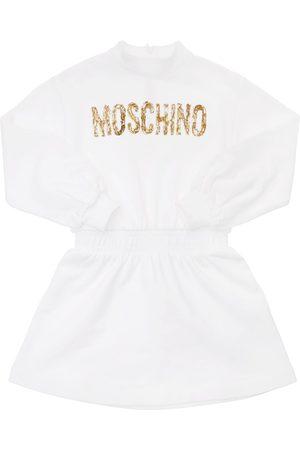 MOSCHINO Girls Printed Dresses - Logo Print Cotton Dress