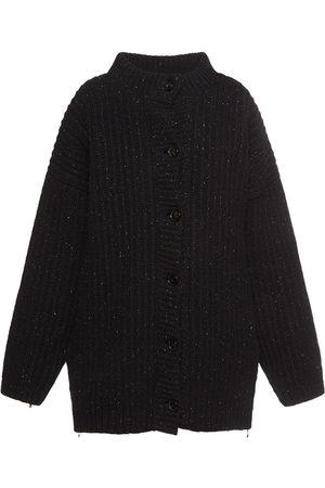 MARNI Melange Wool Blend Knit Cape Down Coat