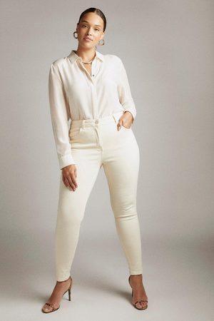 Karen Millen UK & IE Karen Millen Curve Organic Luxe Cut High Rise Skinny Jeans -, Cream