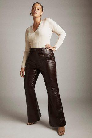 Karen Millen UK & IE Karen Millen Curve Leather Pocket Slim Flare Trousers