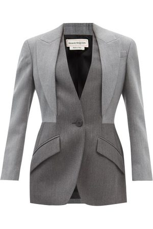 Alexander McQueen Single-breasted Layered-effect Wool Suit Jacket - Womens - Multi