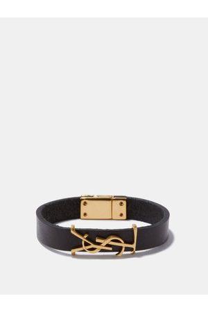 Saint Laurent Ysl-plaque Leather Bracelet - Womens