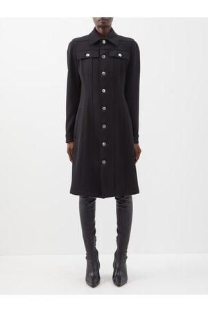 Bottega Veneta Patch-pocket Buttoned Wool-blend Twill Shirt Dress - Womens