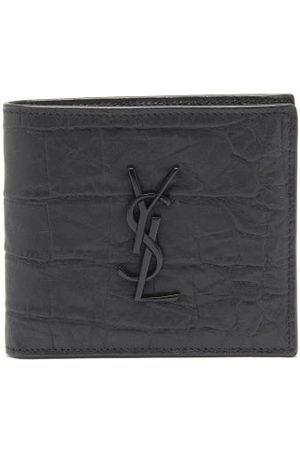 Saint Laurent Ysl-plaque Crocodile-effect Leather Bifold Wallet - Mens