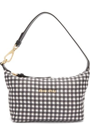 Miu Miu Women Handbags - Gingham-woven Canvas Shoulder Bag - Womens