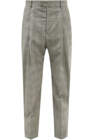Alexander McQueen Prince Of Wales-check Pleated Wool Trousers - Mens - Multi