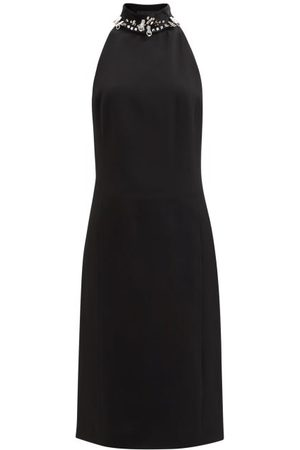 Givenchy Studded Open-back Crepe Midi Dress - Womens