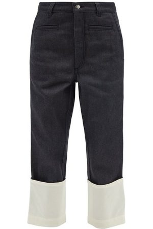 Loewe Fisherman Cropped Turn-up Jeans - Womens - Dark Denim
