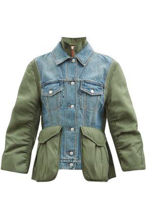 Alexander McQueen Curved-sleeve Denim And Shell Jacket - Womens - Khaki Multi