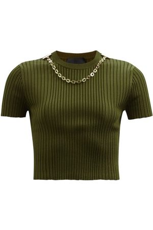 Givenchy Chain Ribbed-jersey Cropped Top - Womens