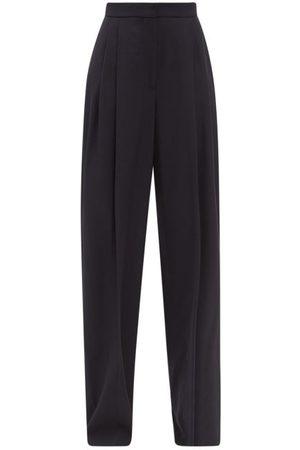 Alexander McQueen Women Wide Leg Trousers - Pleated Wool-blend Twill Wide-leg Trousers - Womens - Navy