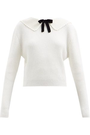 Miu Miu Exaggerated-collar Ribbed Knit Sweater - Womens