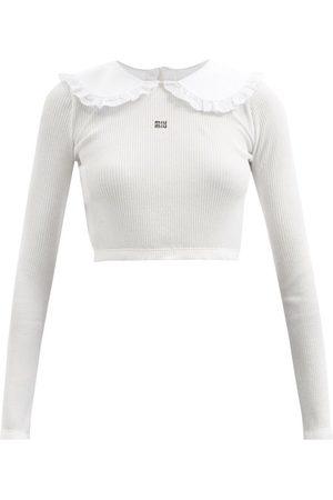 Miu Miu Women Tops - Ruffled-collar Logo-embroidered Cotton Top - Womens
