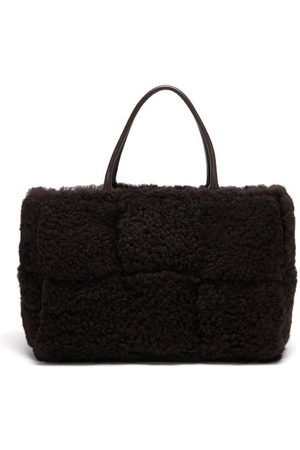 Bottega Veneta Women Shopper & Tote Bags - Arco Medium Intrecciato-shearling Tote - Womens - Dark