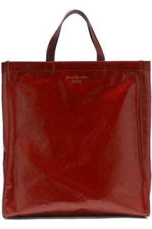 Acne Studios Women Shopper & Tote Bags - Agele Medium Leather-trim Coated-canvas Tote Bag - Womens - Burgundy