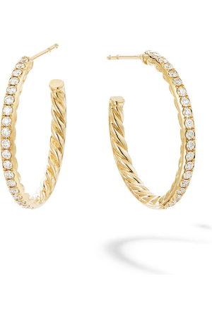 David Yurman 18kt yellow small Pavé diamond hoops