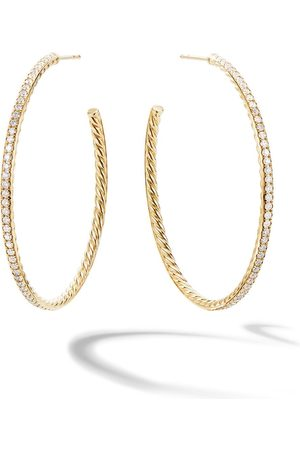 David Yurman Women Earrings - 18kt yellow Pavé diamond large hoops
