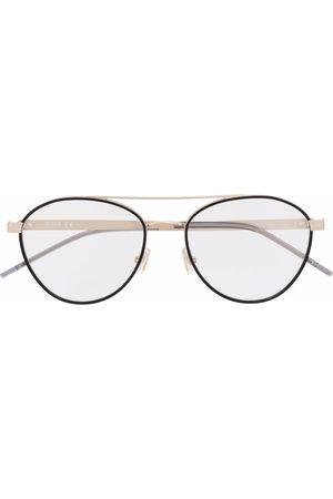 HUGO BOSS Polished-effect round-frame glasses