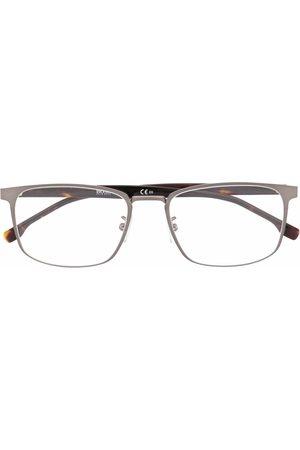 HUGO BOSS Matte-effect rectangle-frame glasses