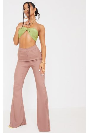 PRETTYLITTLETHING Women Wide Leg Trousers - Chocolate Woven Flared Trousers