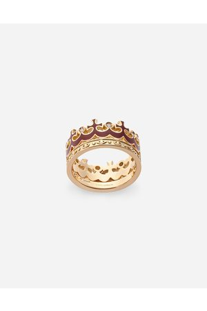 Dolce & Gabbana Jewelry - Crown yellow ring with burgundy enamel crown and diamonds male 62