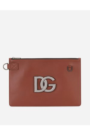 Dolce & Gabbana Briefcase and clutches - Flat calfskin toiletry bag with DG logo male OneSize