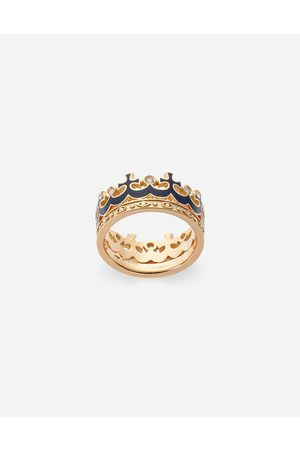 Dolce & Gabbana Jewelry - Crown yellow ring with blue enamel crown and diamonds male 62