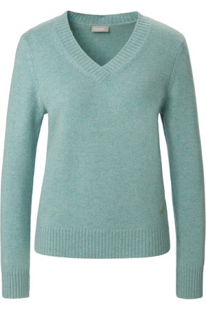 include V-neck jumper in 100% cashmere turquoise size: 10