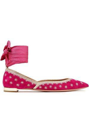 Aquazzura Women Flat Shoes - Woman Pointed-toe Flats Fuchsia Size 40