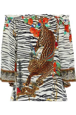 Camilla Women Tops - Woman Off-the-shoulder Crystal-embellished Printed Silk Crepe De Chine Top Animal Print Size L